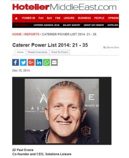 THE CATERER POWER LIST 2014