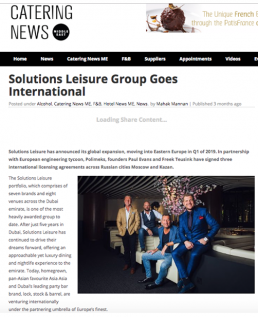 SOLUTIONS LEISURE GROUP GOES INTERNATIONAL